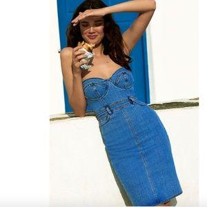 NWT Bardot Mia Bustier Denim Bodycon Dress S